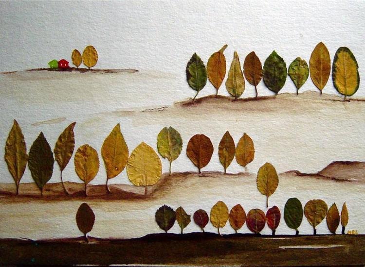 New Leuk schilderij (canvas ) van echt bladeren. Leuk om zelf te maken  #PN87