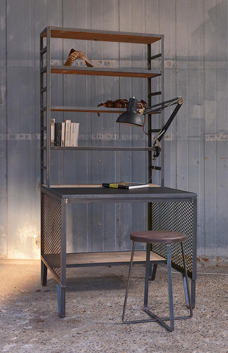 Industriele werkplek - modern industrial home office een bureau ...