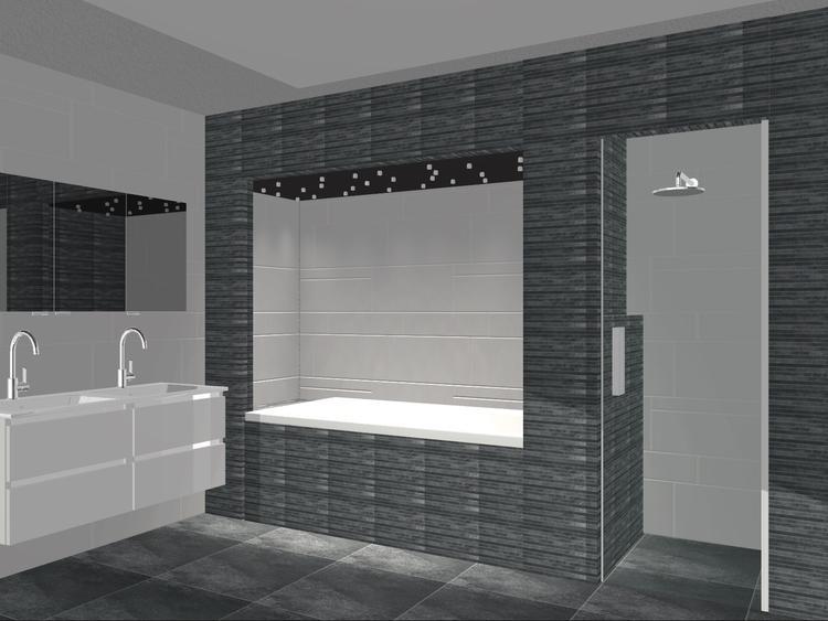 Een Gezellige Badkamer : Mooie strakke maar toch gezellige badkamer ontworpen bij puur