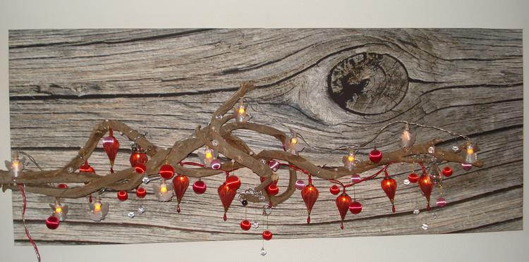Wanddecoratie Op Doek.Wanddecoratie Voor Kerst Bevestig De Tak Op Een Doek En Versier Met