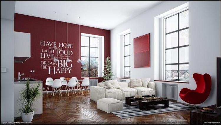 Mooie woonkamer met visgraat houten vloer en knallende rode muur met ...