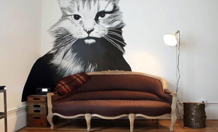 Muurschildering woonkamer. Een artistieke kat.. Foto geplaatst ...