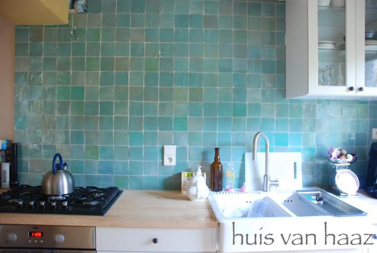 mooie kleur zelliges tegels. leuk voor de keuken en de badkamer, Badkamer