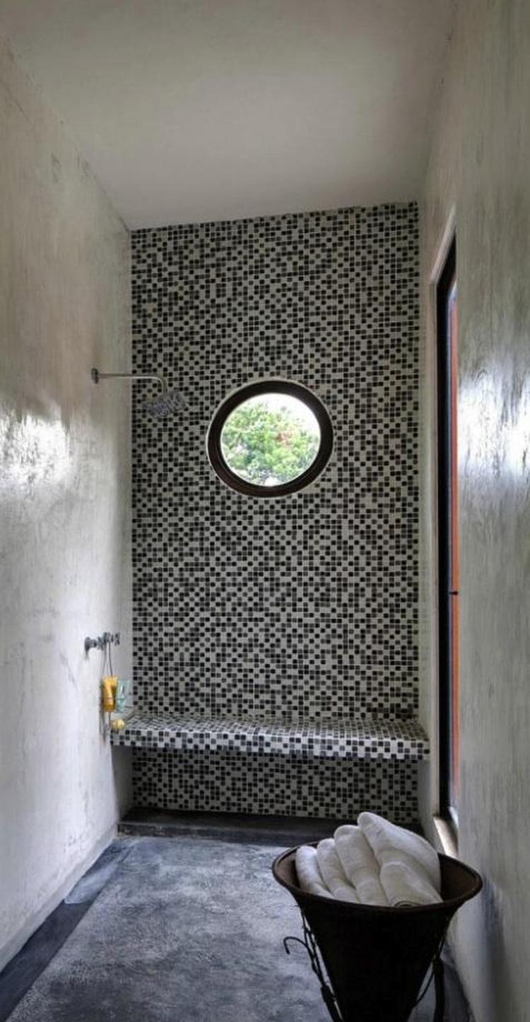 badkamer in verschillende technieken. Marmerstuc mozaiek, . Foto ...