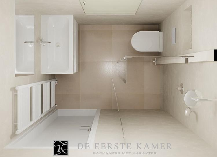 De Eerste Kamer) Een kleine badkamer met een mooie wandafwerking ...