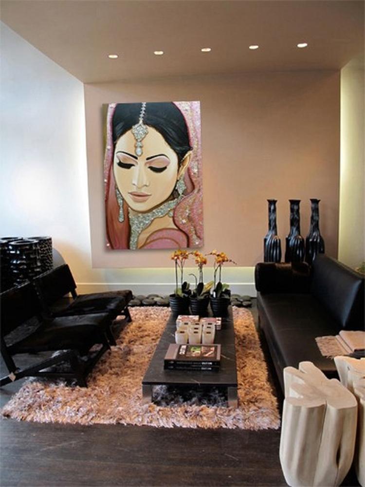 modern interieur woonkamer, decoratie, schilderij van Frank ...