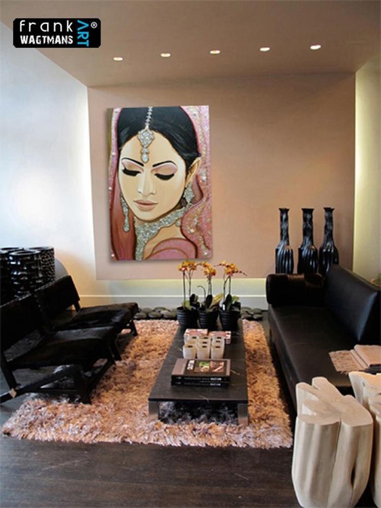 Modern interieur, woonkamer decoratie. Prachtig schilderij van Frank ...