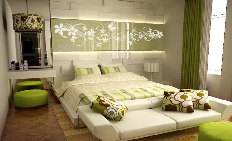 mooie jaren 60 look zeker mooi vind ik de decoratie boven het bed