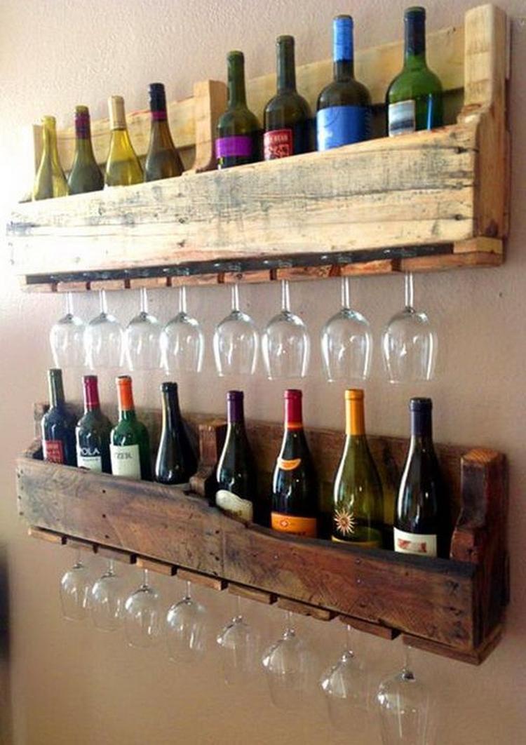 Populair Wijnrek met glazen van een pallet.. Foto geplaatst door Jen01 op  #MC75