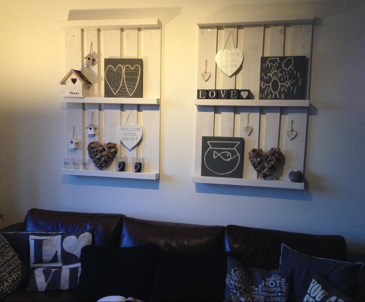 Pallets als wanddecoratie. Foto geplaatst door moorsplace op Welke.nl