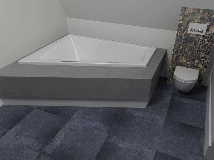 De eerste kamer in deze badkamer staat een luxe ligbad. naast het