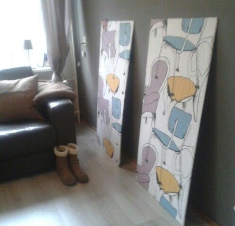 Wanddecoratie / Muurdecoratie; houten platen met stof van IKEA ...