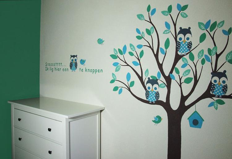 Kinderkamer Houten Boom : Boom muur kinderkamer