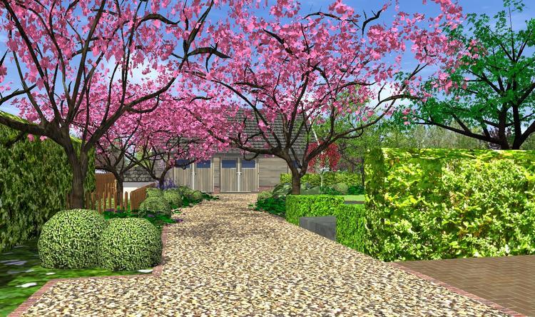 Zeer landschappelijke tuin met 'in stijl afgetimmerde garage hoogstam  #BO08