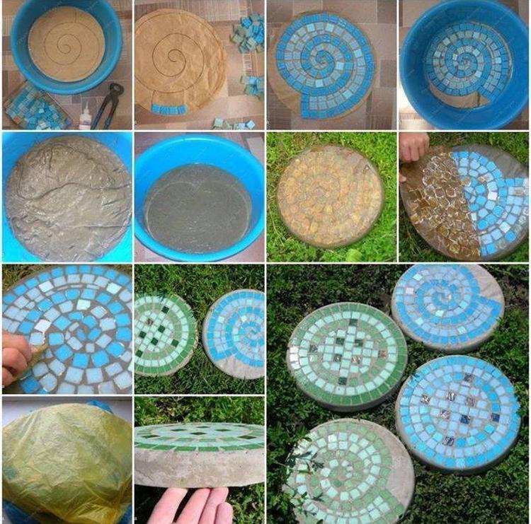 Mozaiek Tegels Tuin.Zelf Stapstenen Van Mozaiek En Cement Maken Voor De Tuin Foto