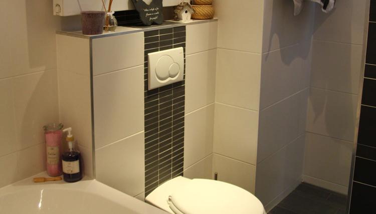 Mooi strak toilet met tegelstrip aan achterzijde. Doorlopend in ...