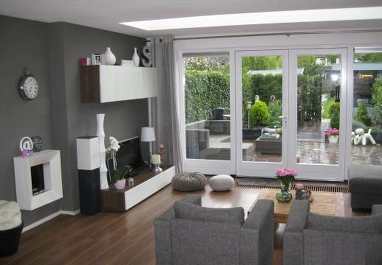 idee voor de indeling van de uitgebouwde woonkamer. De tv kast kan ...