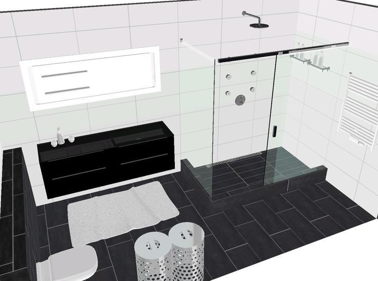 Ennovy badkamer met hoogglans witte wandtegels, mosa vloertegels ...