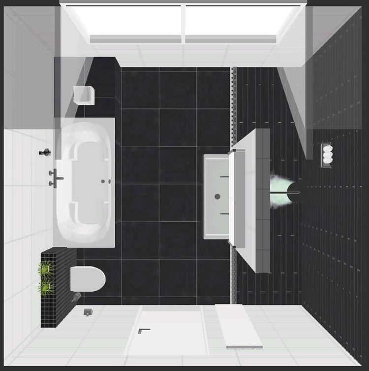 moderne badkamer met bubbelbad beterbad, inloopdouche, inbouw kranen ...