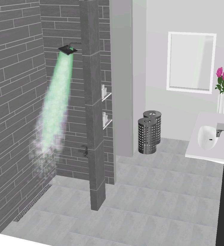 moderne badkamer, met colli tegels, wastafel laufen palomba ...