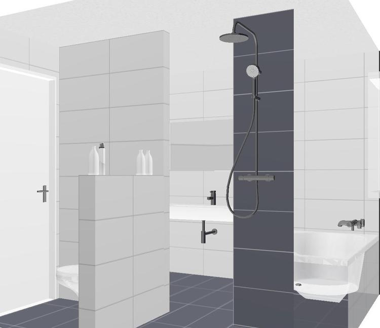 kleine badkamer met bad, inloop douche, wastafel en apart toilet ...