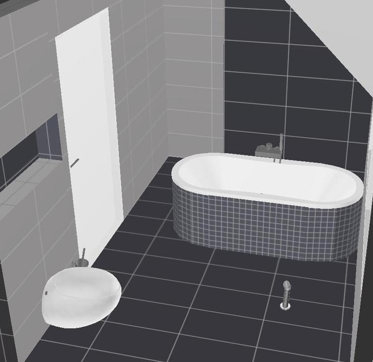 alessi toilet, inloopdouche, antraciet tegels met licht grijze ...