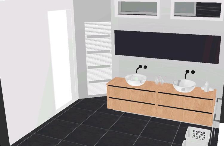 Houten badkamermeubel met opzet waskommen zwart wit combinatie