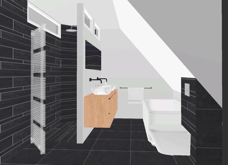 Inloopdouche houten badkamermeubel bad toilet foto geplaatst