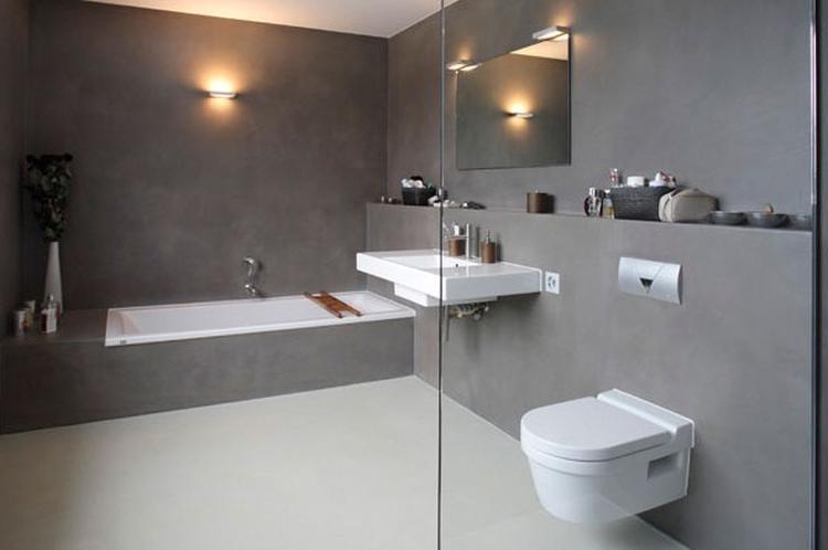 Badkamer Stuc Voorbeelden : Betonstuc great beton cire stijlvolle badkamer beton cire