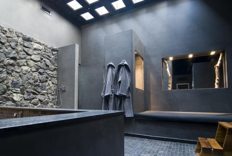 Strakke badkamer zonder tegels op de wanden. Foto geplaatst door ...