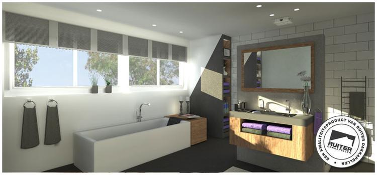Veel ruimte en licht met dakkapel op de badkamer. ook mooie wastafel ...
