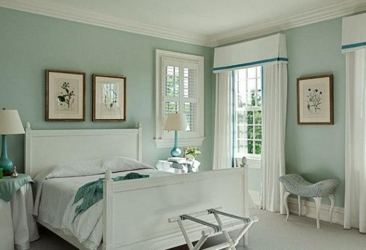Slaapkamer Groen Wit : Romantische slaapkamer idee tref wit blauw slapen bed munt