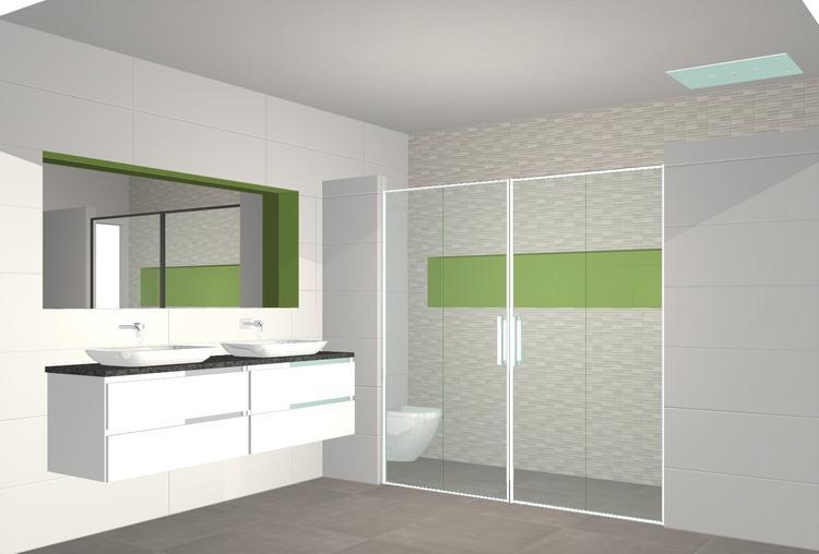 Mooie strakke badkamer, de kleur is te veranderen door het led licht ...