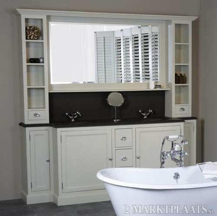 mooi landelijk badkamer meubel 220 cm breed met 2 waskommen in ...