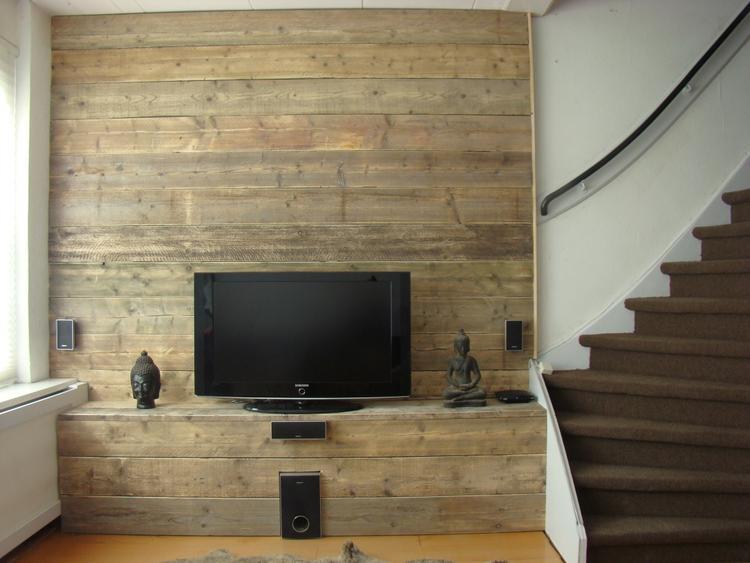 Welke Tv Meubel.Steigerhouten Wand Met Tv Meubel Foto Geplaatst Door Ilonaf Op