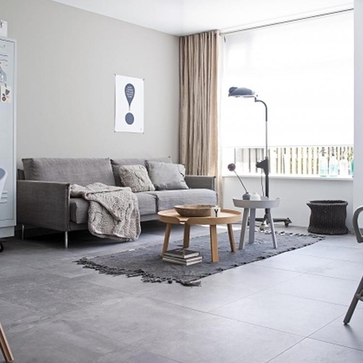 Modern Douglas Jones grijze tegels woonkamer. Foto geplaatst door ...