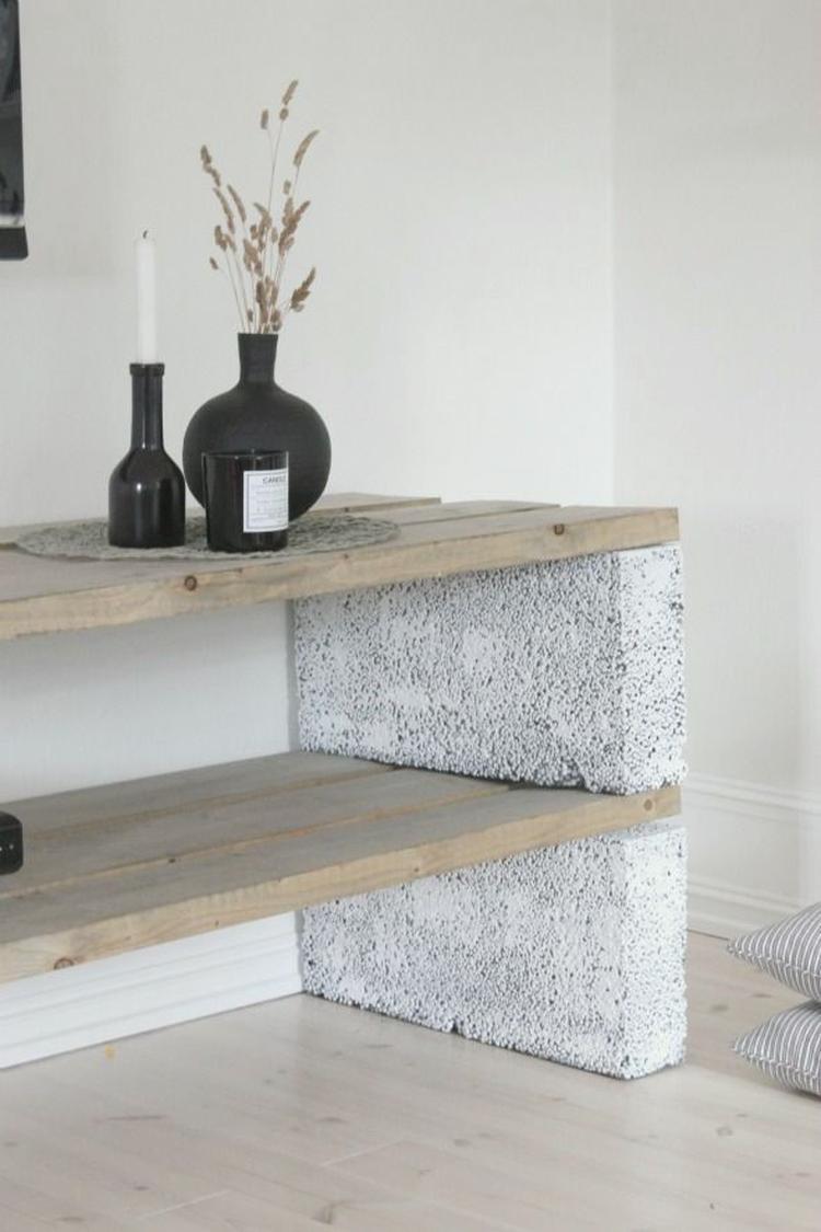 betonblokken dressoir
