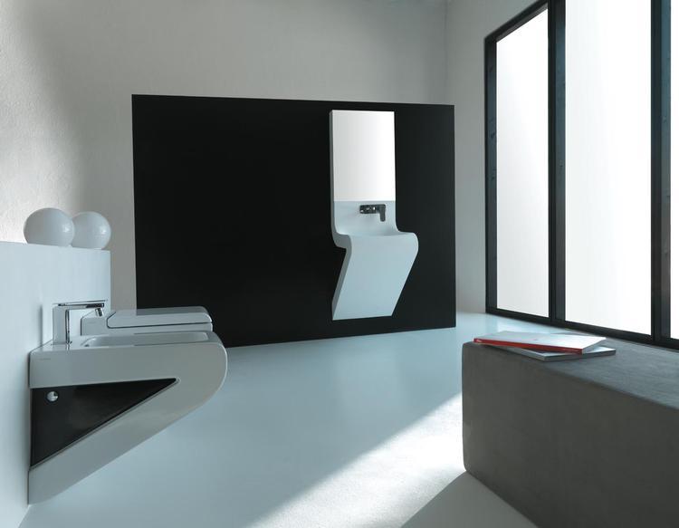 Minimalistisch design met vloeiende lijnen de design wastafel van