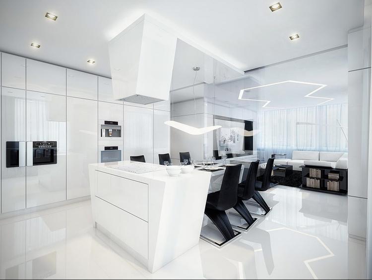 strak zwart witte huiskamer keuken het patroon op het plafond