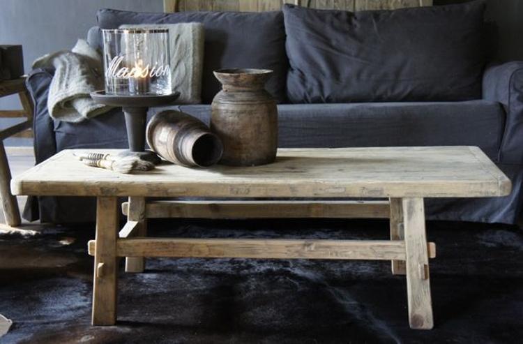 Oud Hout Bankje Salontafel.Prachtig Oud Houten Elmwood Salontafel Foto Geplaatst Door