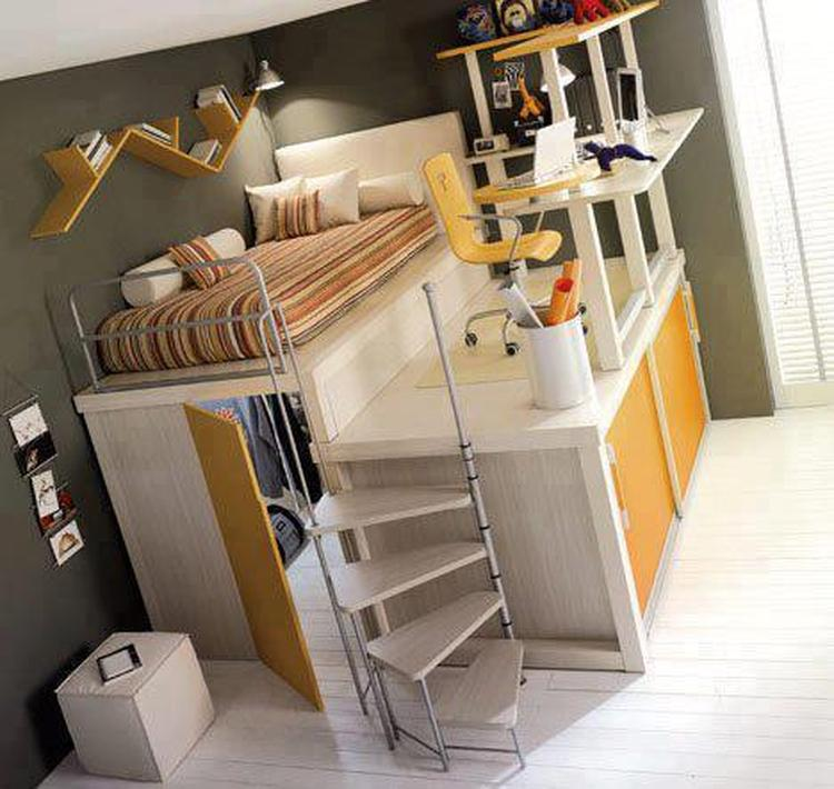 leuke en ruimtebesparende indeling voor een kleine kinderkamer, Deco ideeën