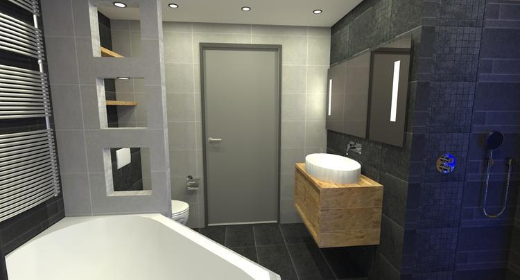 een muur grijs om de badkamer toch een beetje lichte kleur te geven ...