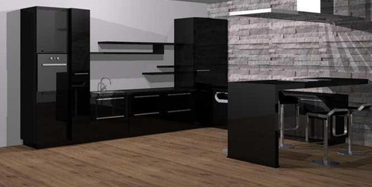 Keuken Kookeiland Zwart : Moderne hoogglans zwarte keuken voorzien van een bar die tevens