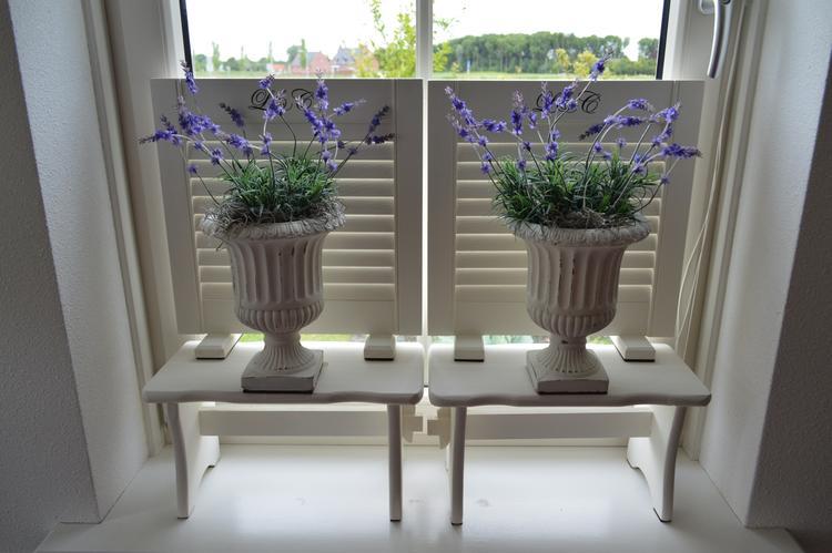 Smalle bloempot vensterbank for Decoratie voor de raam