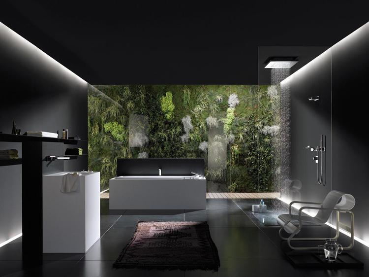 Strakke, zwarte badkamer met wit sanitair. Een badkamer hoeft niet ...