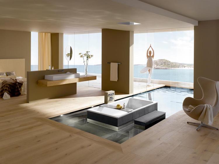 Badkamer Bad Afmetingen : Moderne bed badkamer met connectie naar buiten de luxe