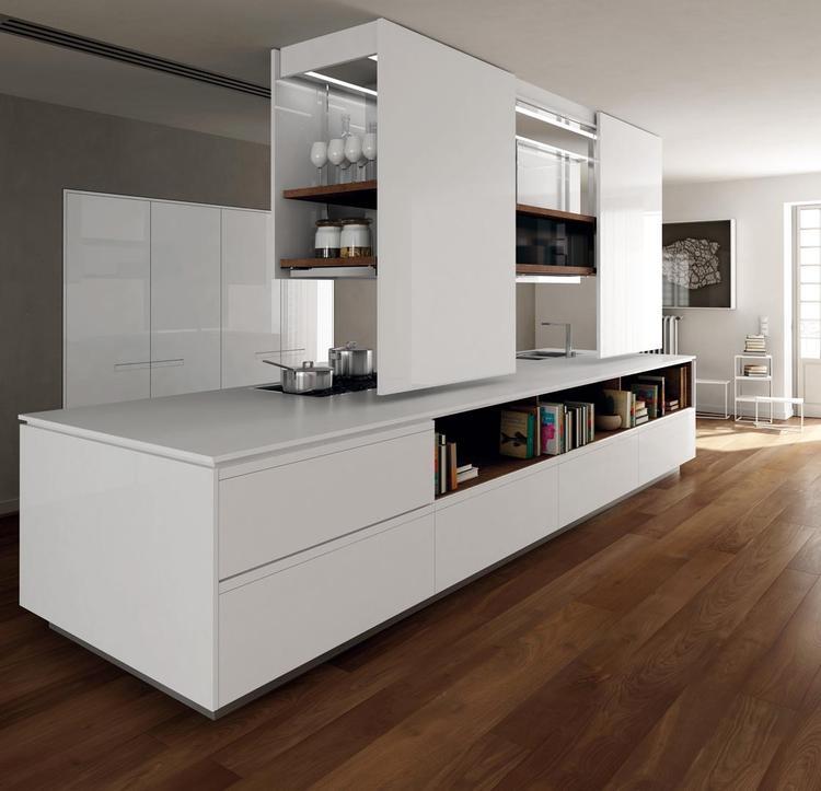 Designkeuken met bijzondere bovenkasten. Wanneer je wel bovenkastjes ...