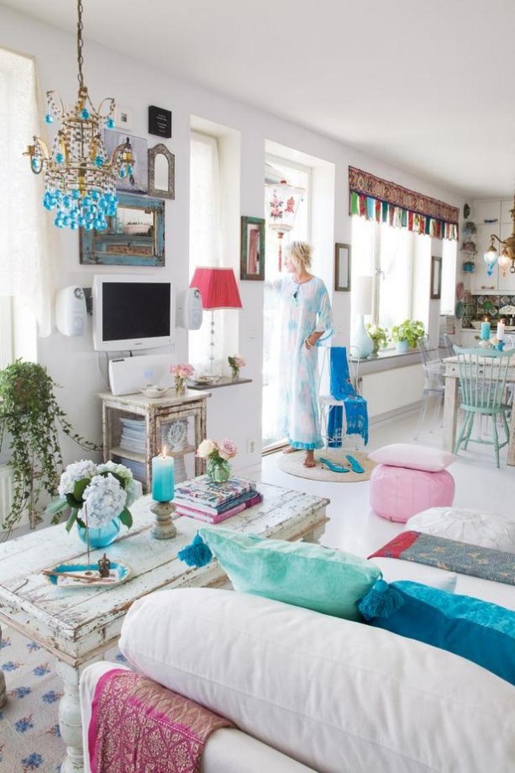 Deze prachtige Ibiza-Chic-Gypsy woonkamer is het nieuw gebouwde huis ...