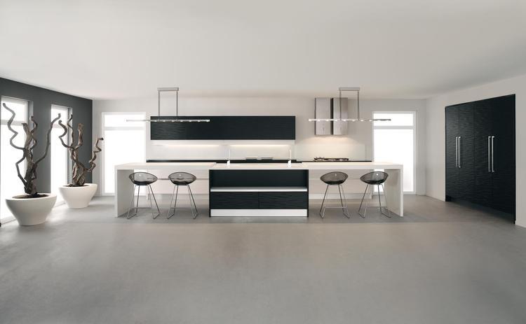 Moderne keuken in wit en zwart. Zwart en wit maken een keuken ...