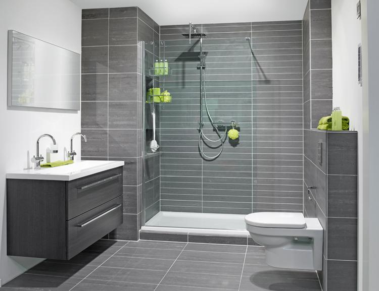 Badkamer grijs / wit met groene details.. Foto geplaatst door ...